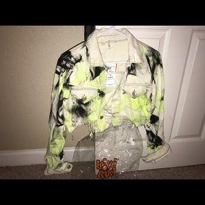 Tie dye neon jean jacket